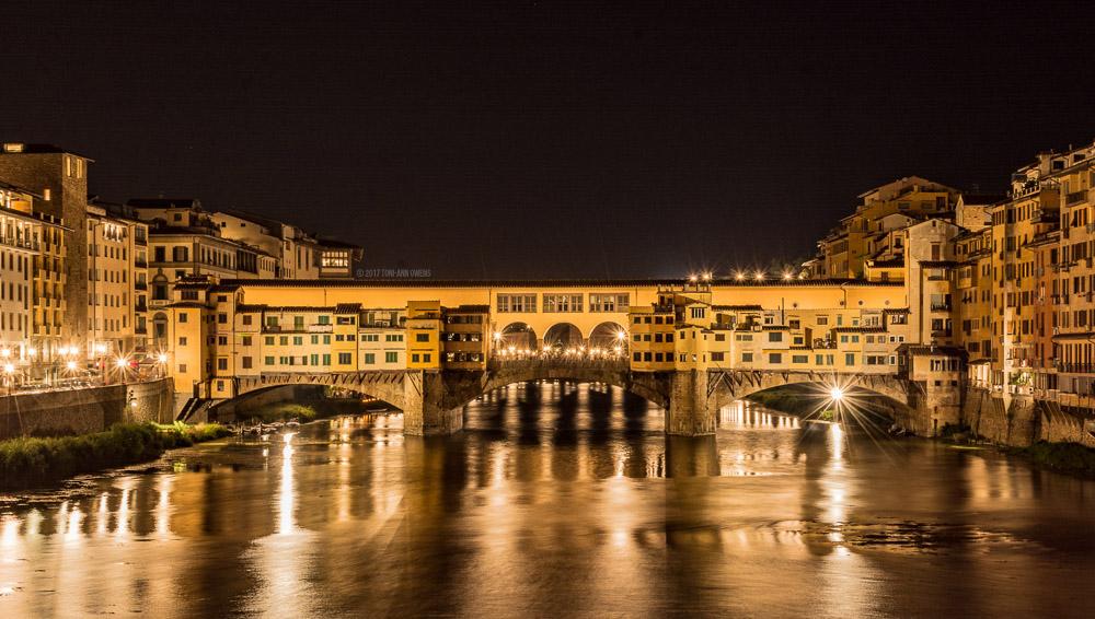 Ponte Vecchio Bridge at Night in Florence, Italy