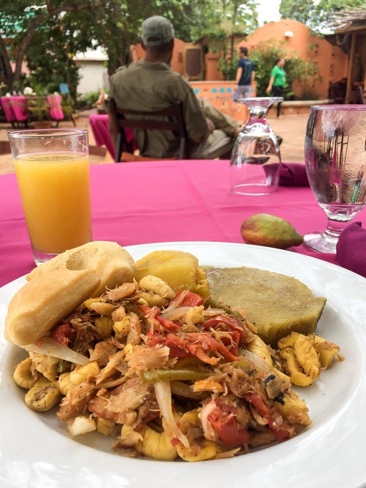 Jamaican breakfast, ackee and saltfish.