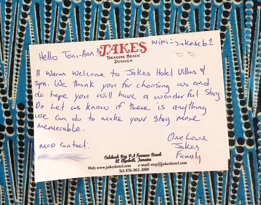 Welcome card from Jakes Resort in Jamaica