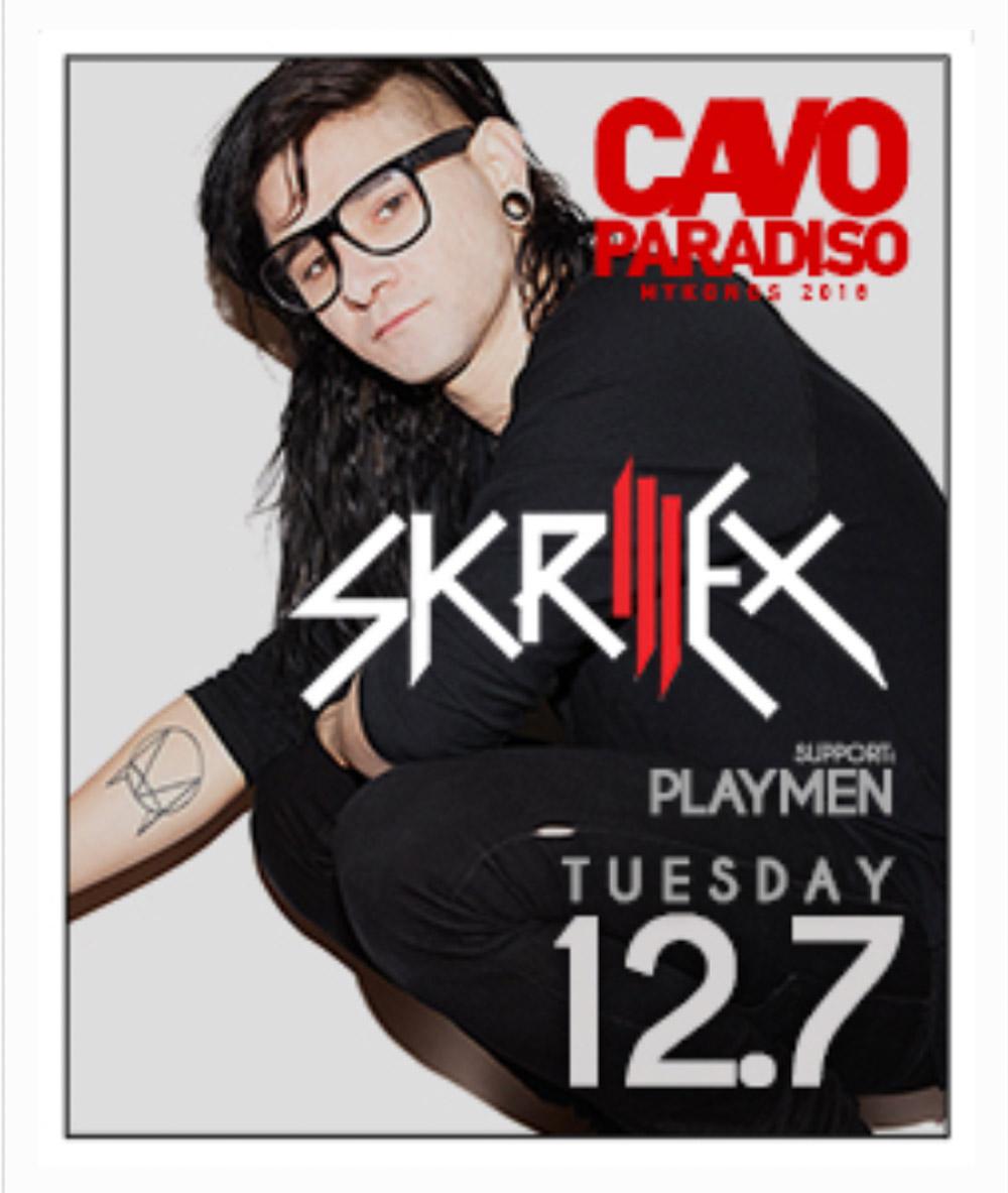 Skrillex in Cavo Paradiso Club in Mykonos Greece