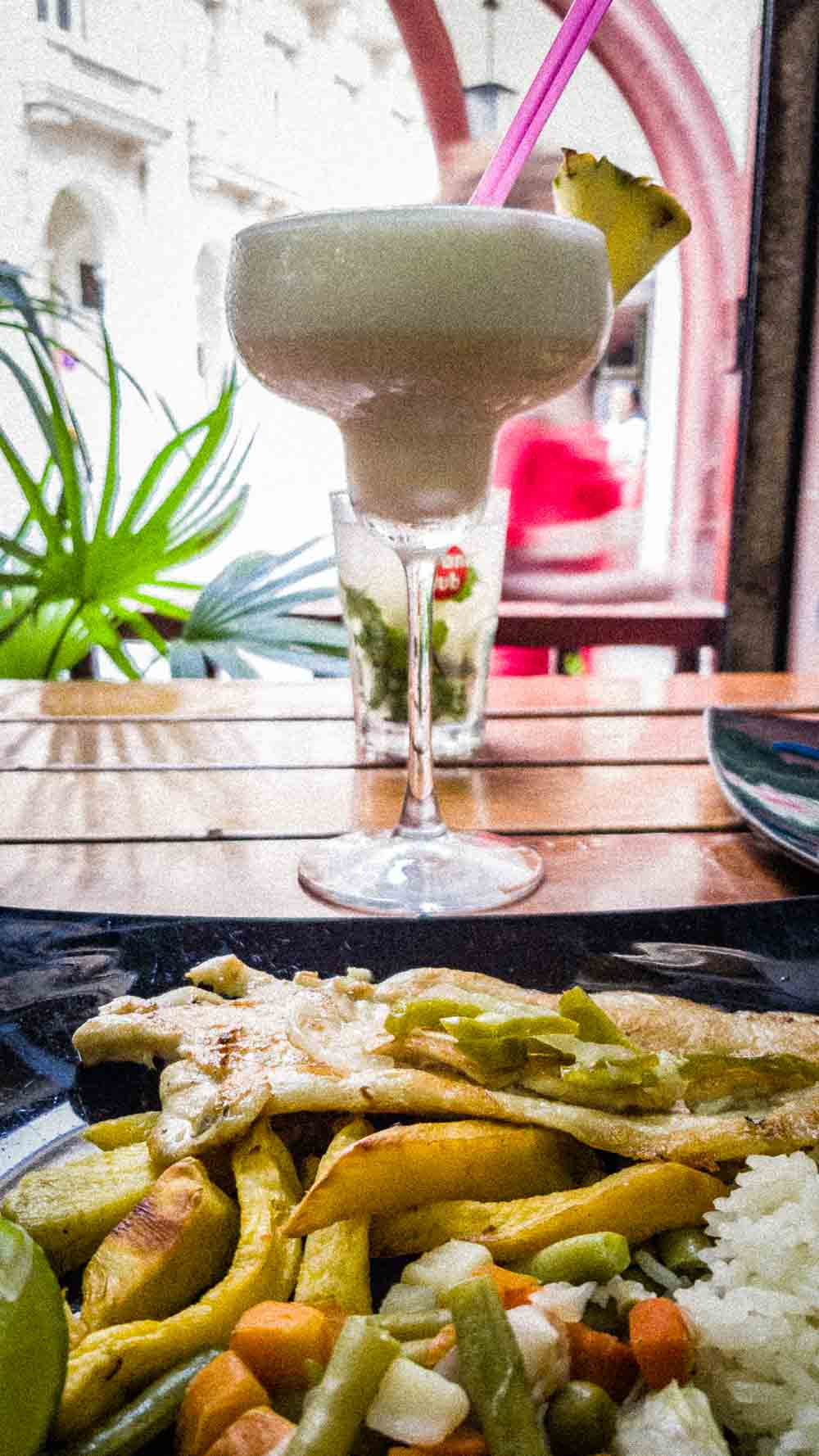 Piña Colada and Seafood at Bar Monserrate in Havana Cuba