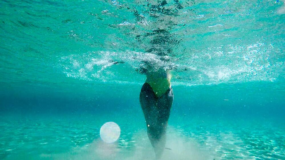 Toni Swimming at Molos Beach in Paros Greece