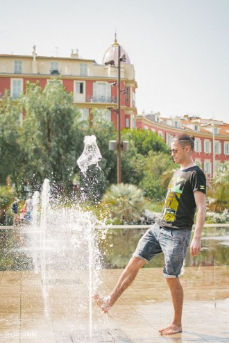 Man Playing with Water Jets in Nice