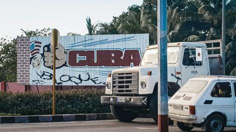 Billboard on street in Cuba