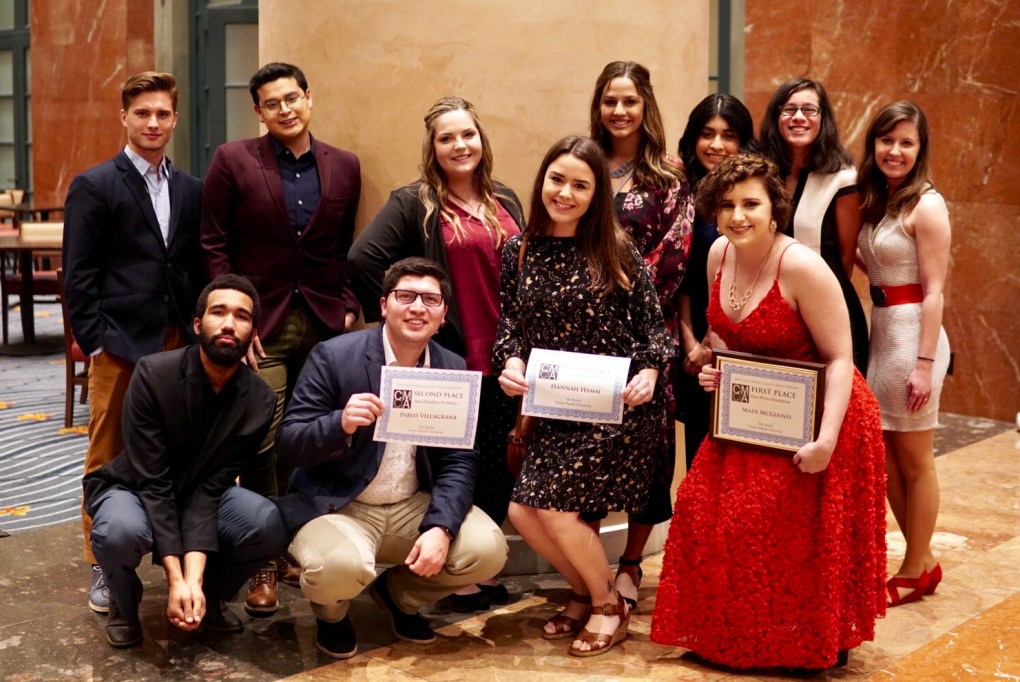 2019 CCMA awards. Front row (l-r):  Kyland Hall, Pablo Villagrana, Hannah Hamm, Madison McGinnis. Back row (l-r): Loren Friesen, Leonel Loera, Abigail Brown, Hannah Miller, Odalis Sanchez, Hailey Cablao, Rachel Kaneversky.