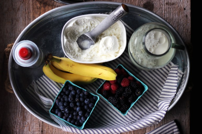 Banana berry milkshakes | www.thetableofcontents.co