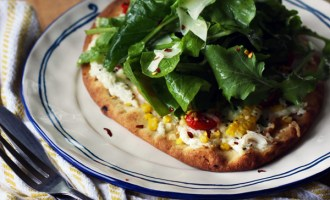 Grilled Corn Ricotta Naan Pizza with Arugula Salad | www.thetableofcontents.co