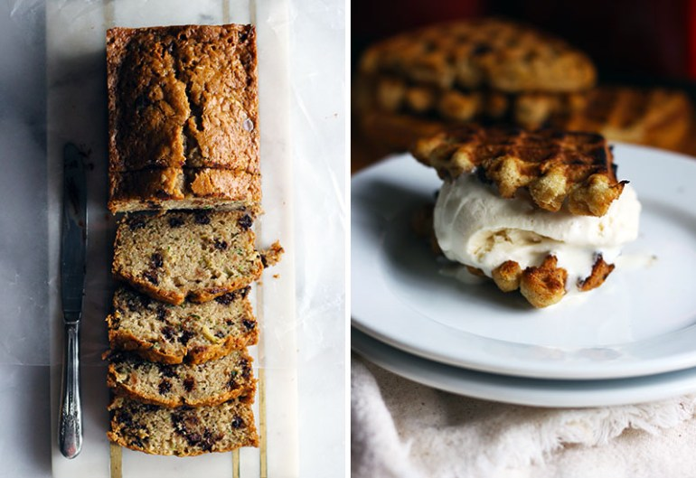Zucchini Bread Waffles with Coconut and Chocolate Chips | www.thetableofcontents.co
