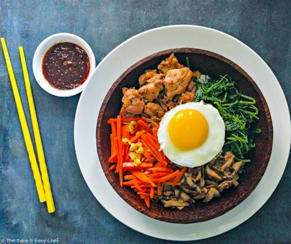 Korean Bibimbap with Chicken Bulgogi