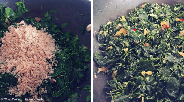 Grated coconut is added to the cooked moringa leaves