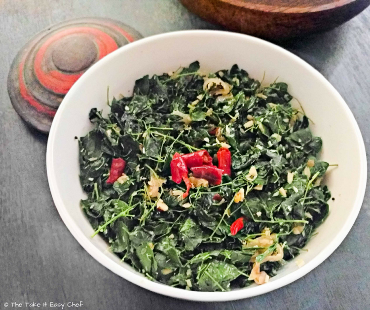 Moringa (drumstick) leaves stir-fry with grated coconut