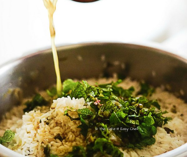 Add the remaining coriander and mint leaves
