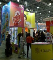 Поставщик товаров для загара (Солана) на выставке Интершарм 2012 в Москве, Россия
