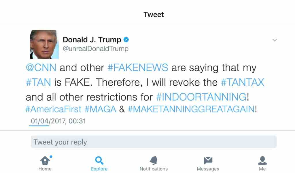 President Trump tweet indoor tanning
