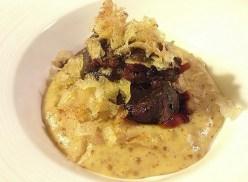 Braised Pork Cheek, Onion Mustard Bisque