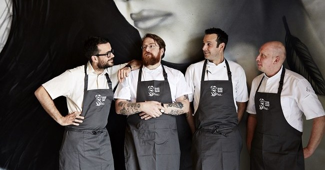 Christian Puglisi, JP McMahon, Matt Orlando, Sasu Laukkonen. Pictured at the launch of Food On Edge 2016 held in Amass Restaurant, Copenhagen April 25th 2016.