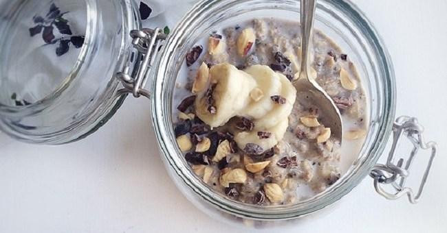 Hazelnut & Banana Overnight Oats Recipe by The Honest Project