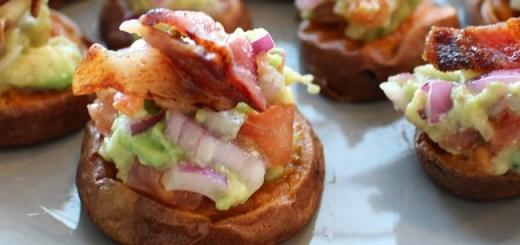 Smashed Sweet Potato, Guacamole & Bacon Bites Recipe by The Wonky Spatula