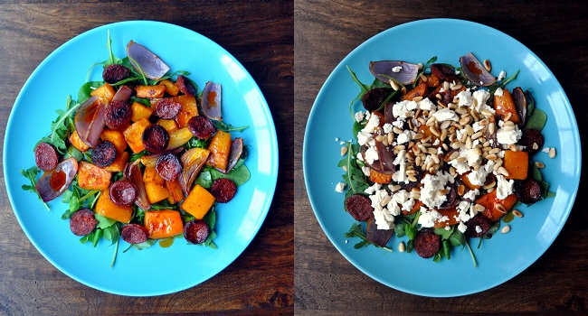Butternut Squash and Chorizo Salad with Harissa and Feta Recipe from A Cookbook Collection