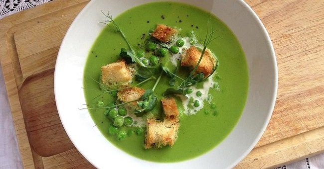 Garden Pea Soup with Sourdough Croutons Recipe by Niamh Mannion