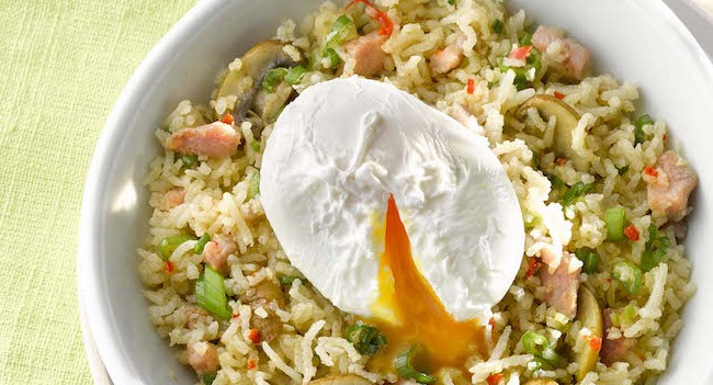 bacon-and-mushroom-fried-rice-with-poached-eggs