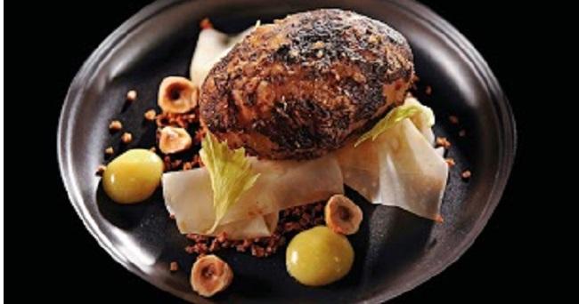 Celeriac baked in barley and fermented hay, hazelnut, raw celeriac juice, smoked tea by Chef Mark Moriarty