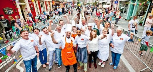 Clonakilty's brigade of chefs prepare to serve over 1500 meals to visitors to Clonakilty's Street Carnival. The carnival celebrates the reopening of the main street after 18 months of work to install a new flood relief system and a new streetscape, at a cost of €2.3 million. Photo by Dermot Sullivan.