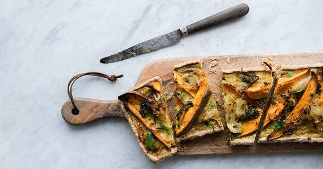Caramelised Onion, Sweet Potato and Rye Tart Recipe by Jordan Bourke