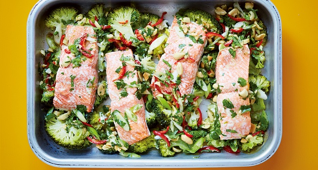 Steam-Roasted Salmon Recipe with Brocolli, Lime, Ginger, Garlic & Chilli