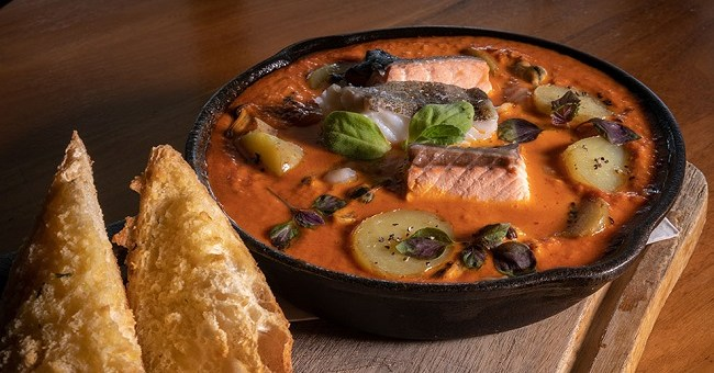 Seafood Skillet with Chorizo Cream Sauce Recipe from The Merrion Inn #DubPubDishes