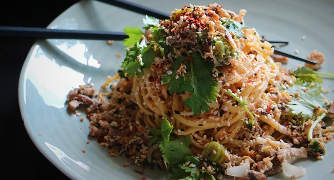 Smoked Tofu and Mushroom Thai Lao Noodles Recipe By Chef Jeeny Maltese