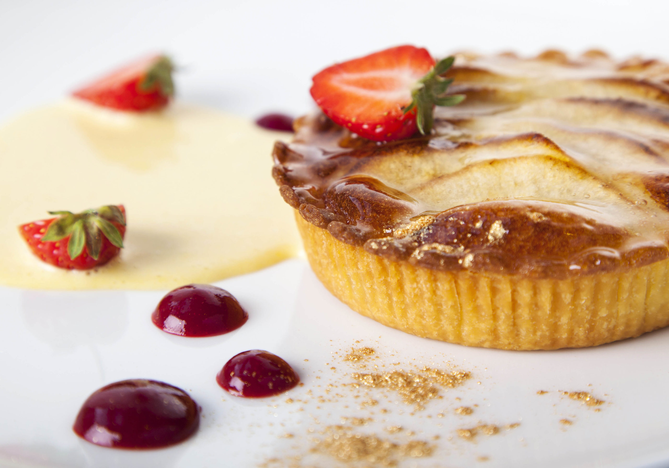 French Apple Tart with Crème Anglaise & Raspberry Coulis by Chef Igor Cikarev of The Gibson Hotel