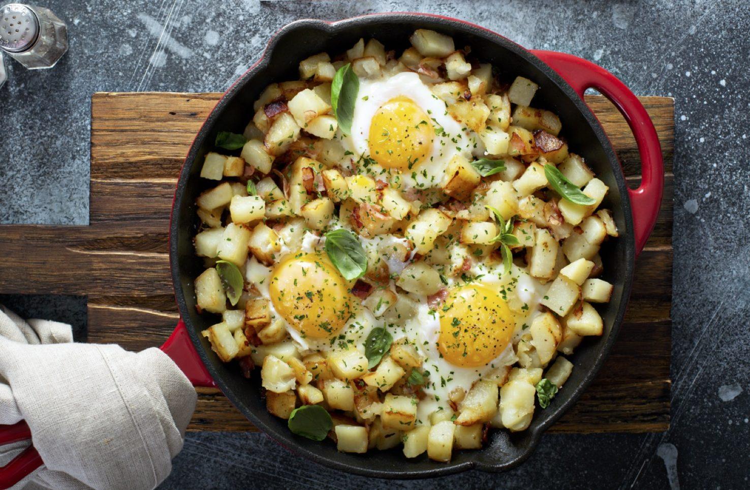 Skillet Potato & Egg Hash with Black Garlic Peanut Chilli Rayu by Chef Kwanghi Chan