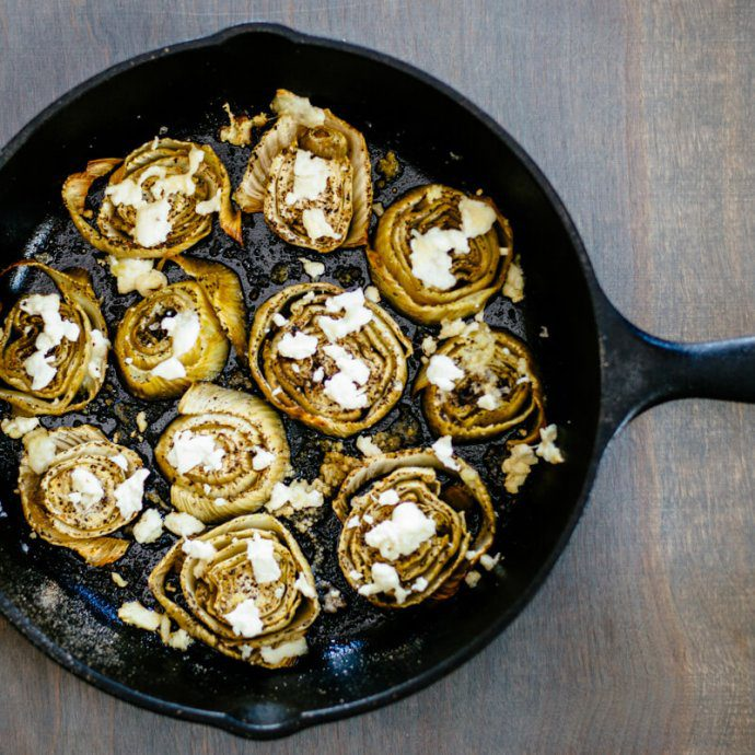 cast iron skillet roasted fennel with goat cheese