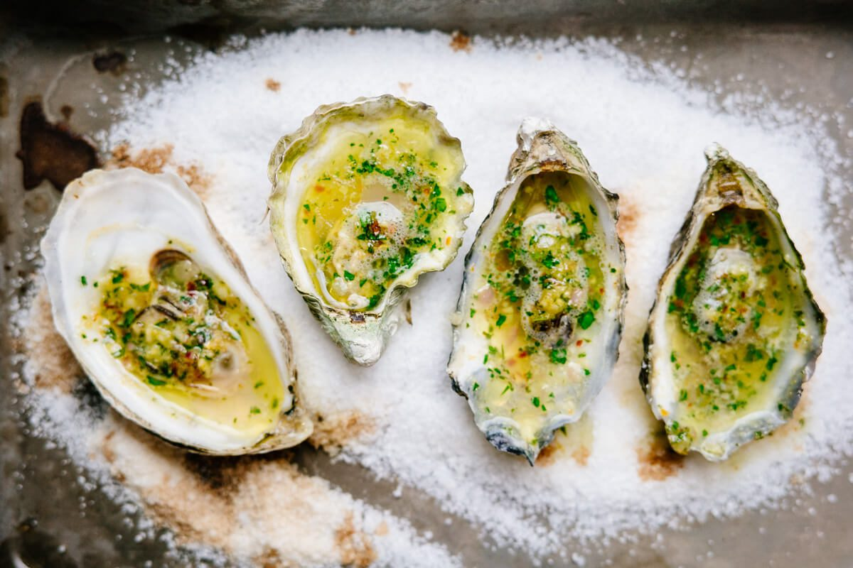 Grilled Oysters with herb butter for grilling