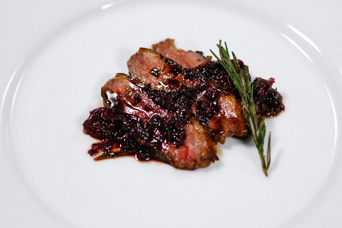 duck breast with sour cherries recipe on The Taste SF