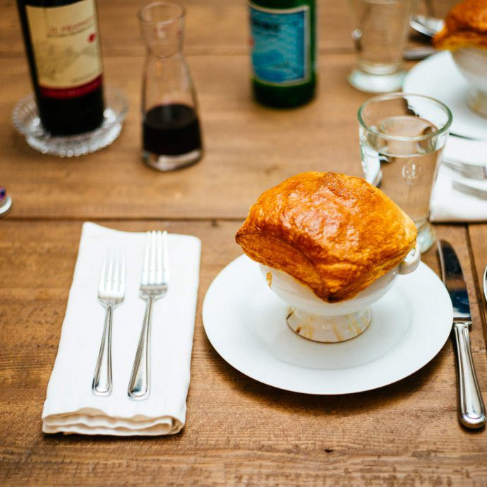 Bistro Jeanty tomato soup en croute is perfect for the fall or winter