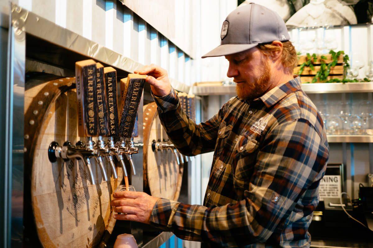 Master Blender Jim Crooks at Firestone Walker Barrelworks pouring sour beers