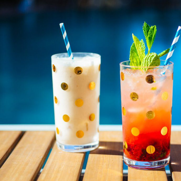 The Taste SF serves Strawberry mojito and pina colada summer cocktails in kate spade polka dot glasses by the pool.