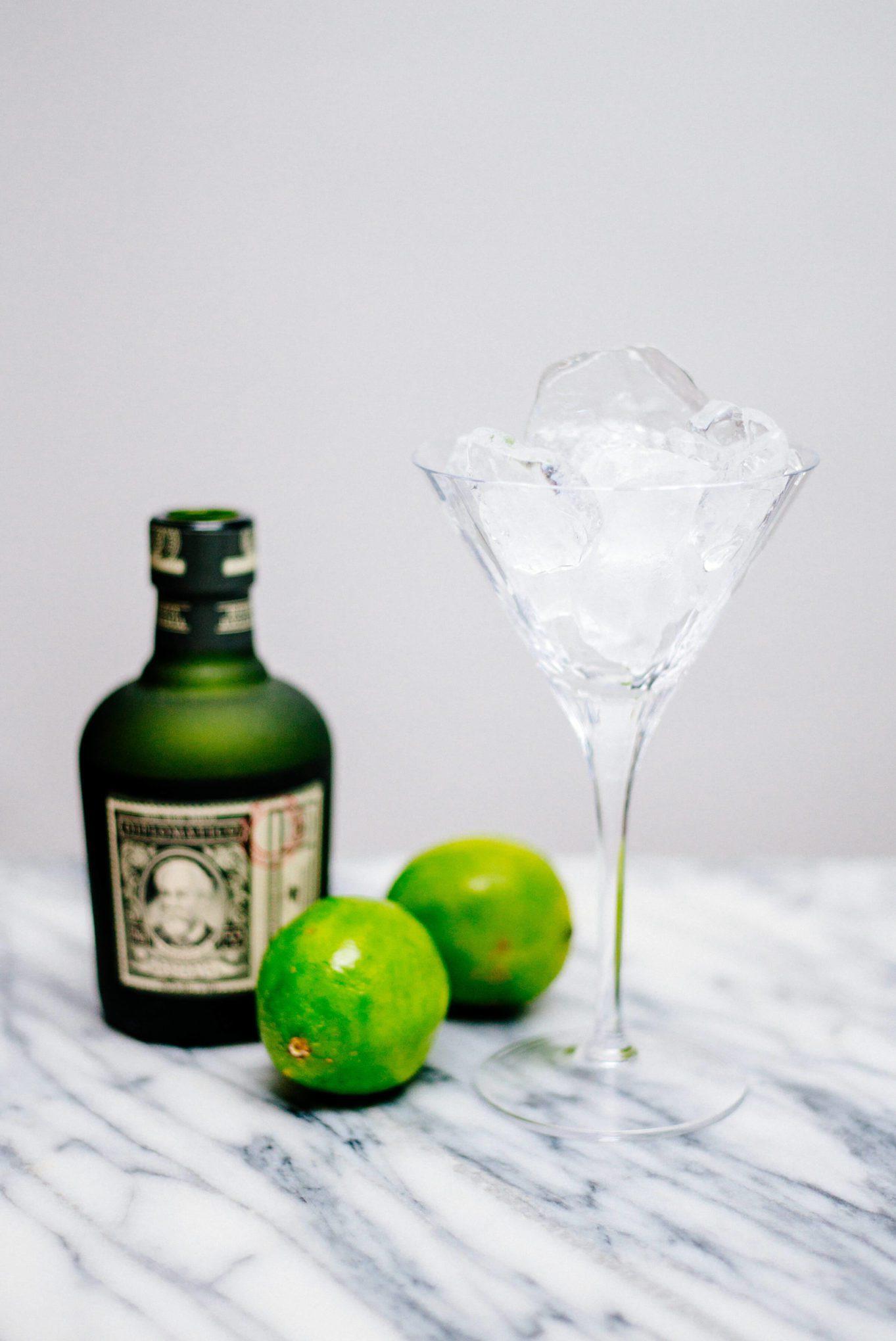 Chilling a martini glass for a Lemon Verbena Daiquiri