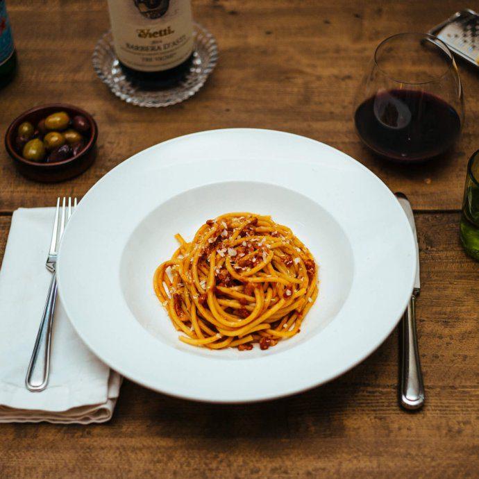 The Taste SF makes their pasta all'amatriciana recipe