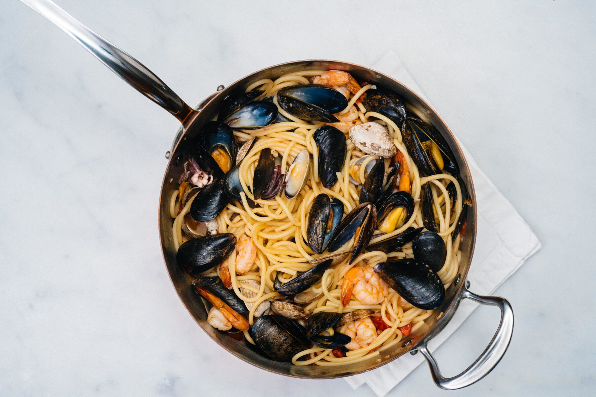 The Taste SF makes pasta from the rocks made with shellfish like shrimp, muscles, and clams