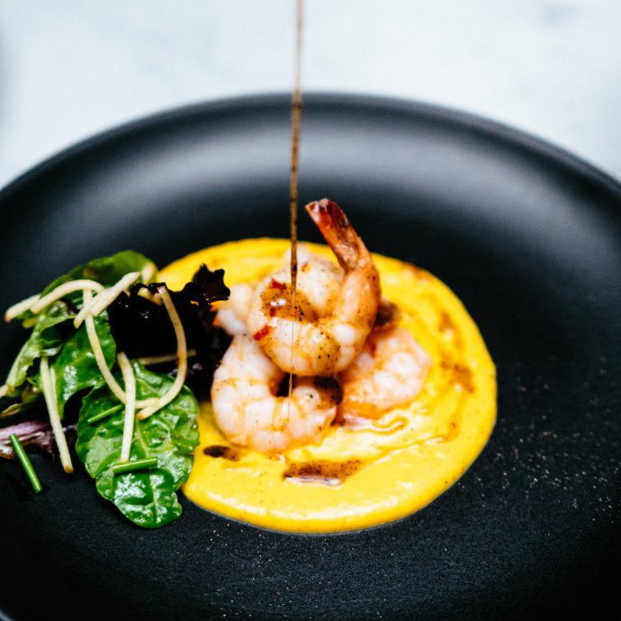 The Taste sf makes Sauteed Shrimp with Butternut Puree and Cider Gastrique by stephanie izzard