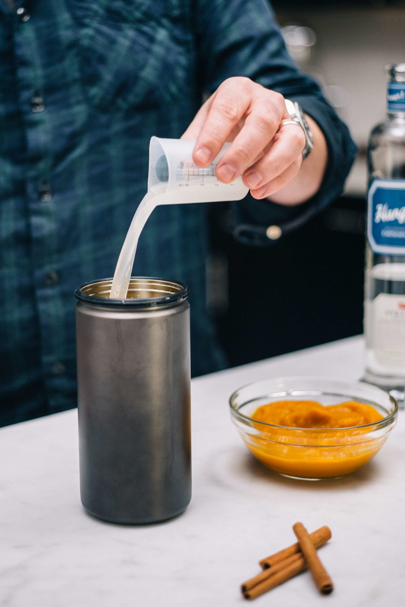 The Taste SF adds Horchata and Ginger Liquor with Hangar 1 Straight Vodka to make their Halloween Cocktail or Thanksgiving Cocktail, A Pumpkin Spice Cocktail