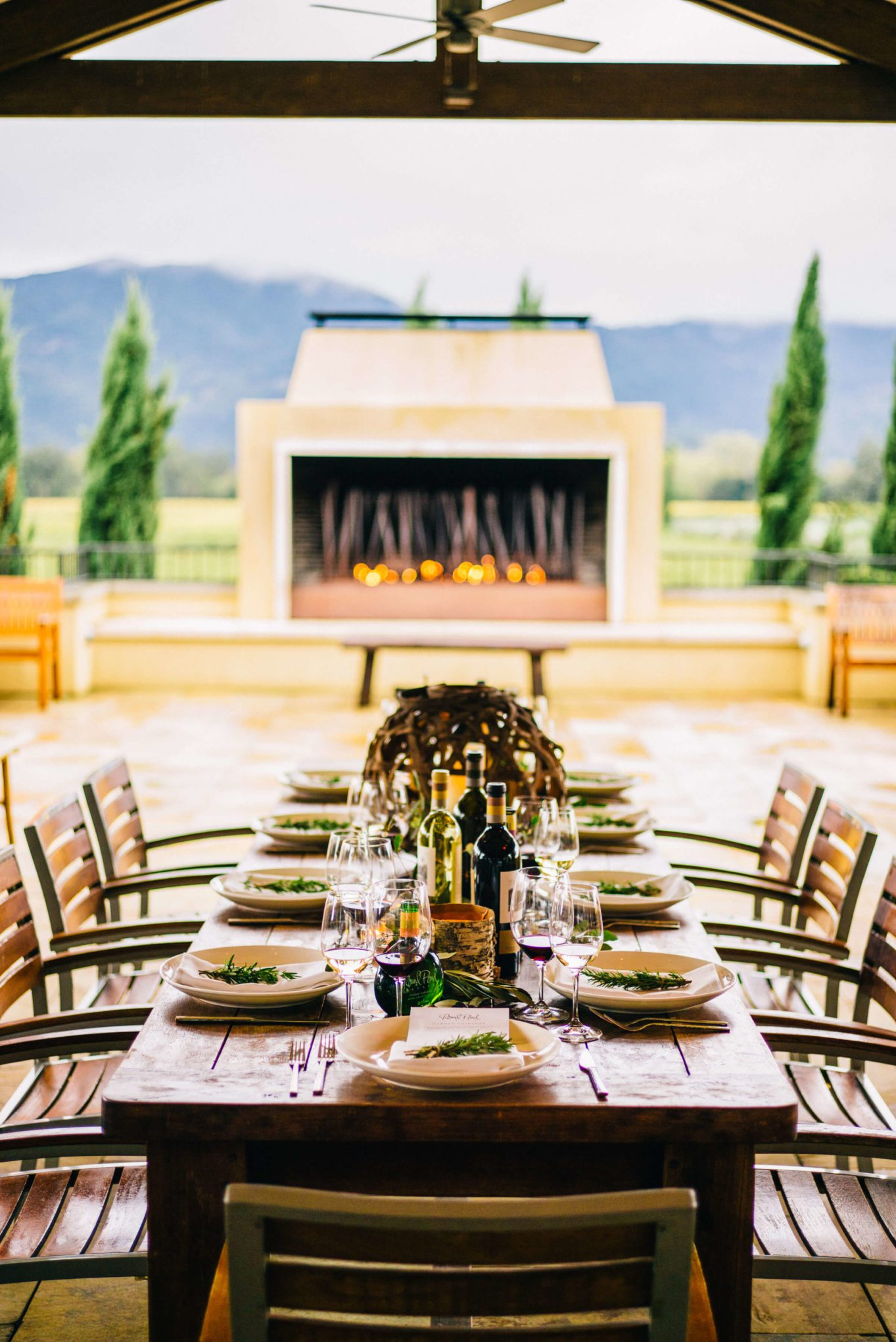 The table setting at Round Pond Estate was perfect with a cozy fire and plenty of wine for thanksgiving