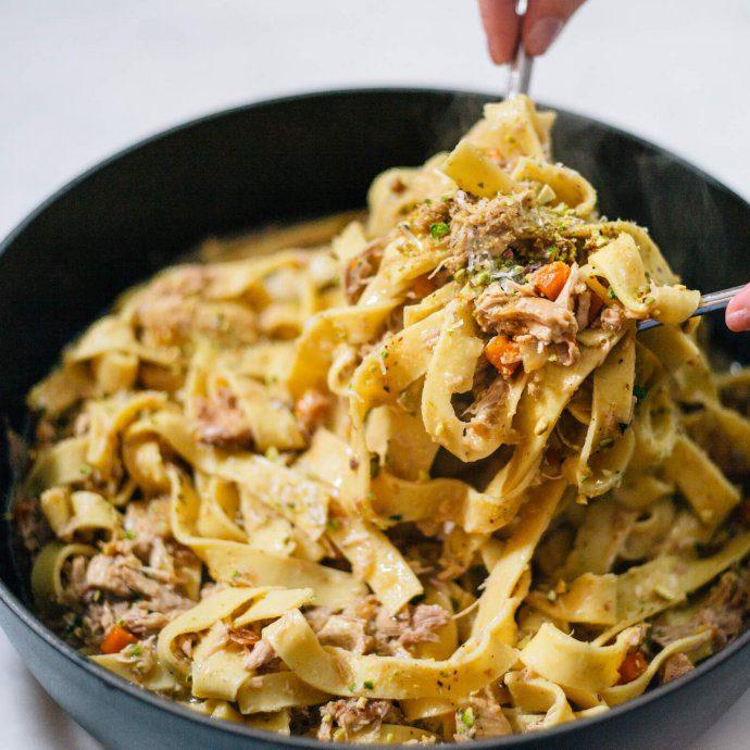 The Taste SF Tossing Guinea Hen Winter Pasta Recipe
