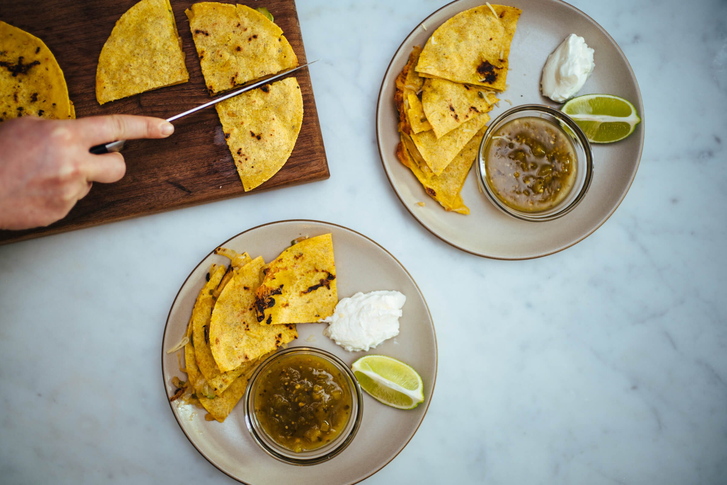 Asparagus quesadillas with tomatillo salsa, The Taste SF