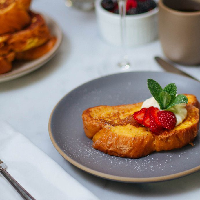 This simple Whipped Ricotta French Toast recipe is made with Grand Marnier by The Taste SF is perfect for brunch with strawberries