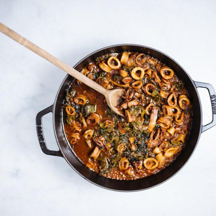 Tuscan Calamari Inzimino cooked with swiss chard recipe, the taste sf