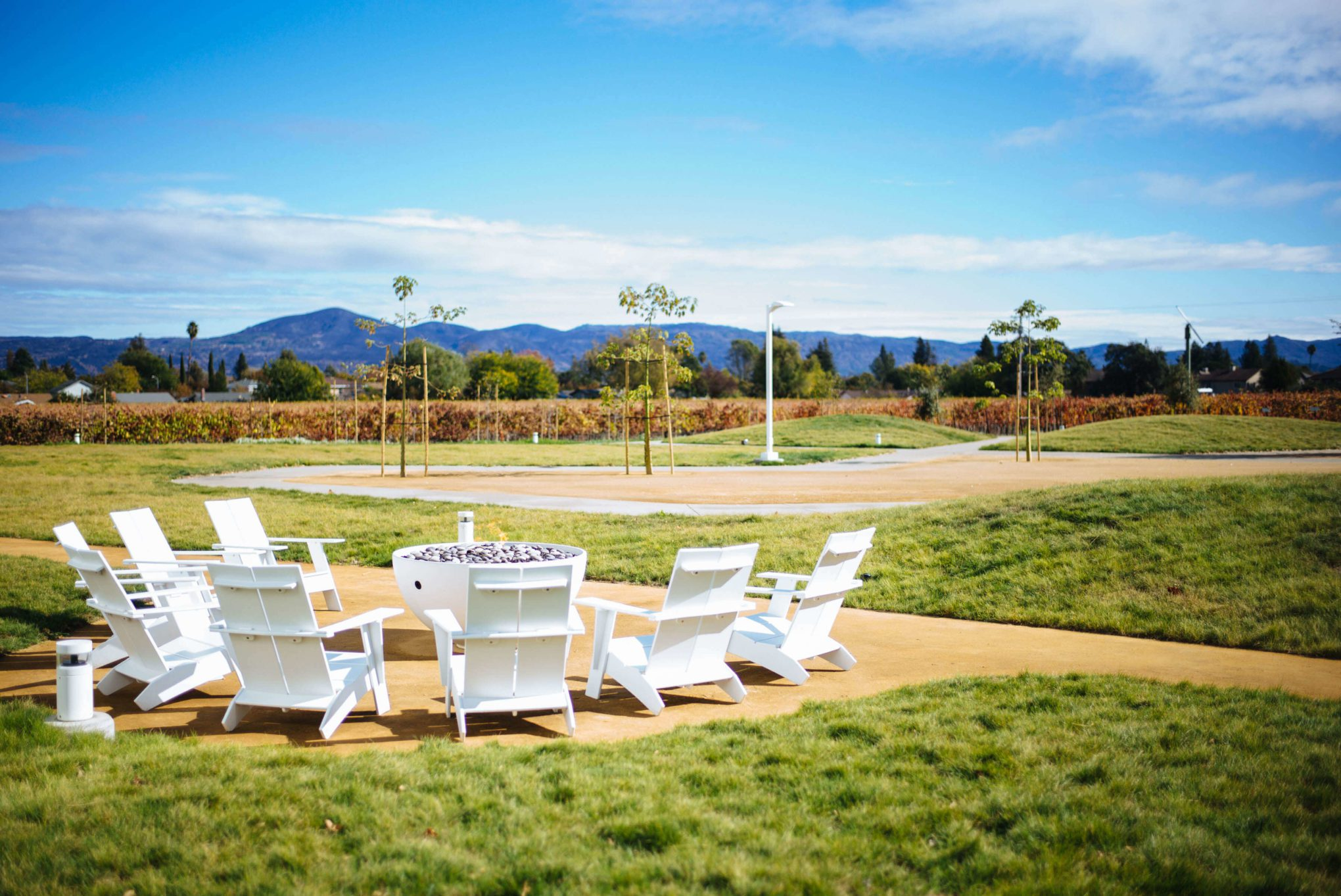 Ashes and Diamonds winery Napa Valley Winery outdoor space with fire pits and a wood fire pizza oven, The Taste SF